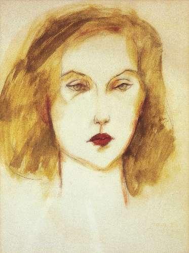 Retrato de Clarice feito pelo pintor Carlos Scliar