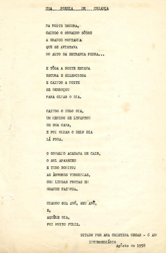 Poema datilografado de Ana Cristina Cesar, em agosto de 1958. (Arquivo Instituto Moreira Salles)