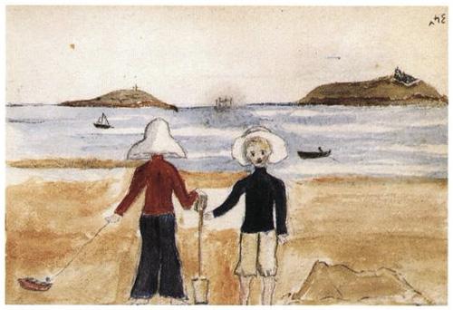'Sem título (Dois Meninos na beira-mar)' | Aquarela, lápis
