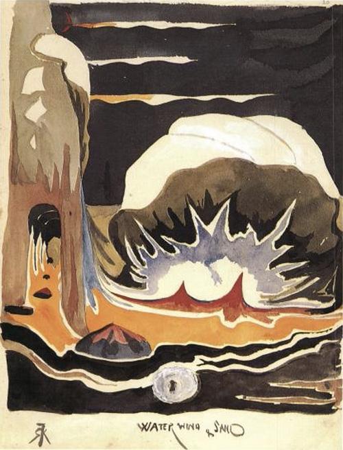 'Água, Vento e Areia' | Lápis, aguarela, cor de corpo branco.  Tolkien desenhou este no início de 1915 para 'The Book of ishness'