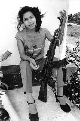 © Jenny Matthews/Network PhotographersImage Ref:JMA-10101694Women in Confict.Managua, Nicaragua 1984. Martha Lorena on guard duty outside the main telecommunications office.